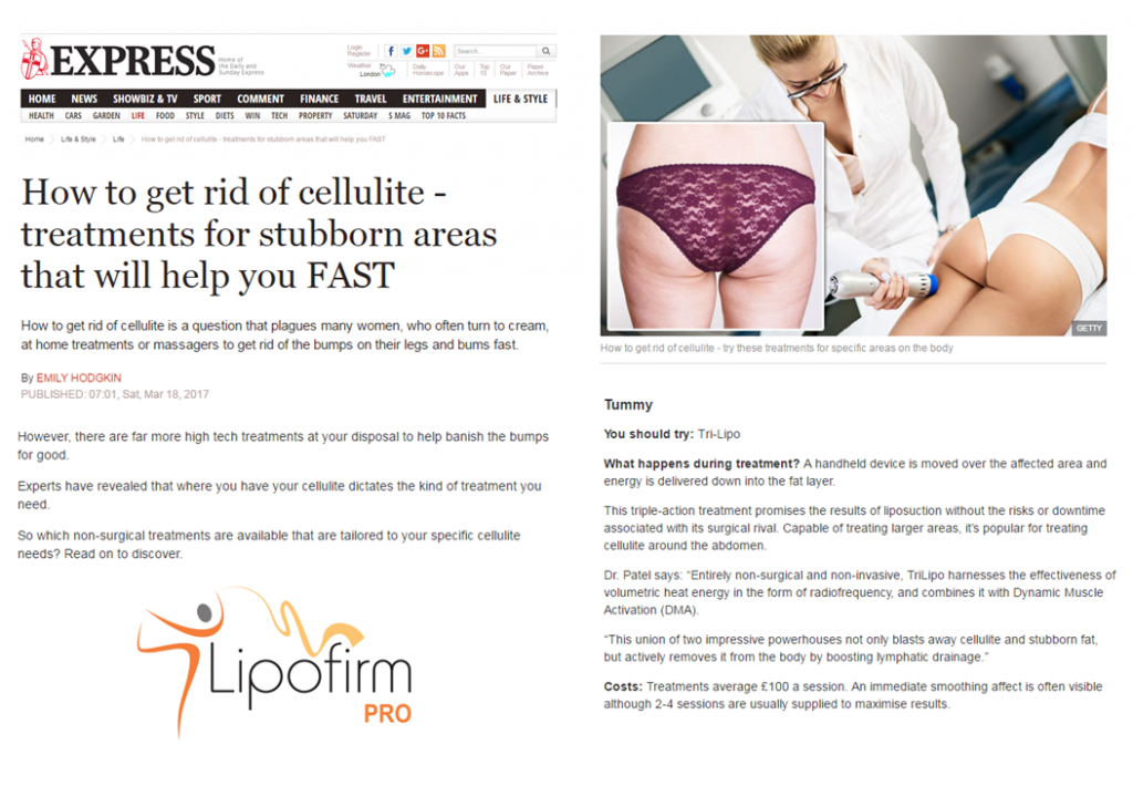 Daily Express talk about LipofirmPRO technology TriLipo for the Tummy