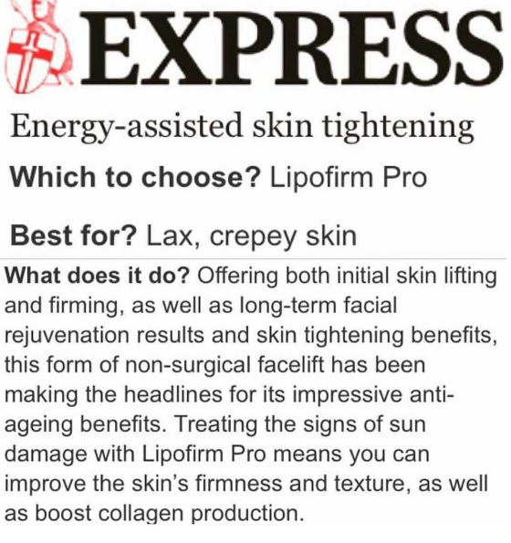 daily express_energy assisted skin tightening with Lipofirm PRO